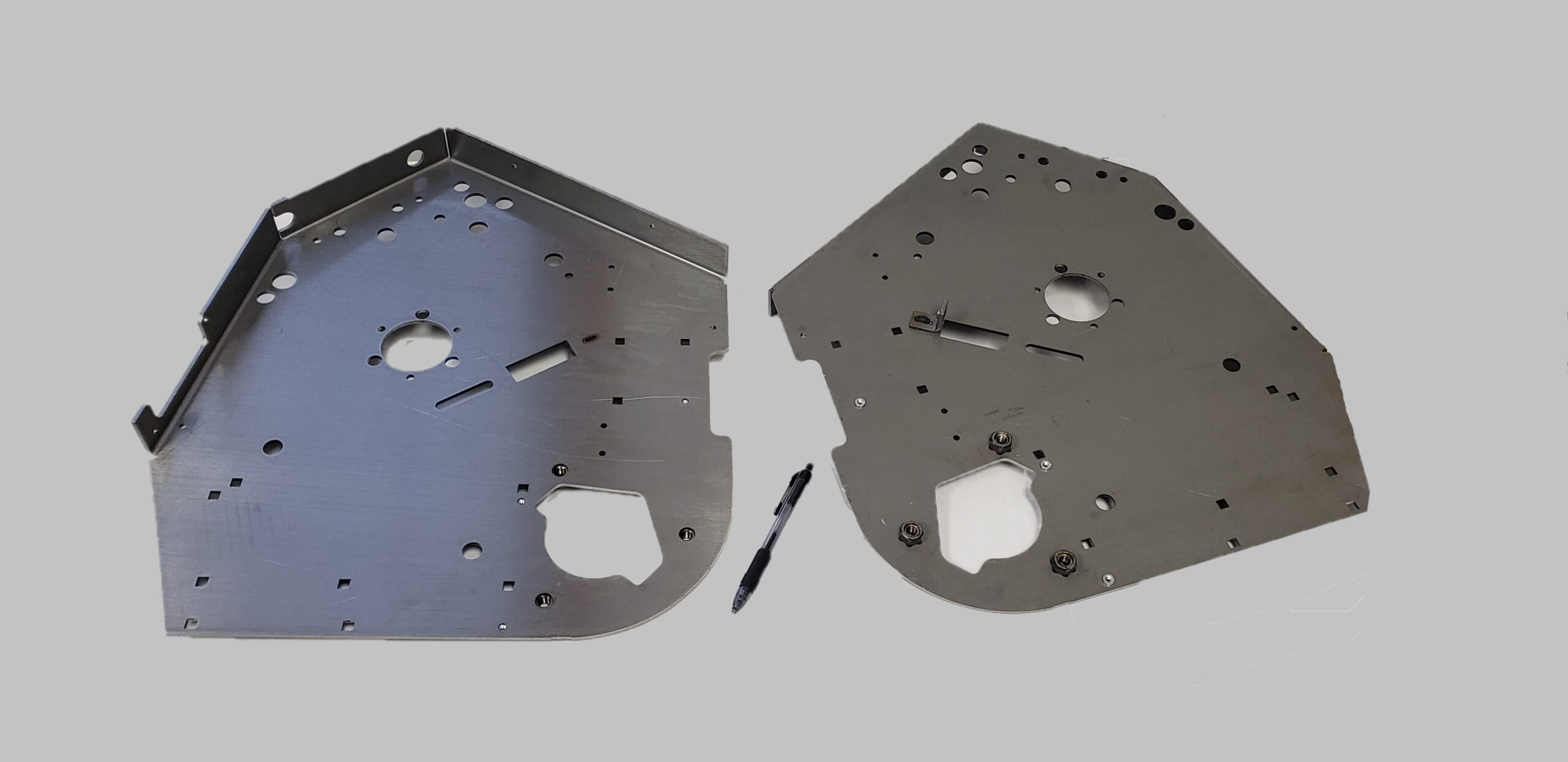 """This 20"""" X 19"""" part is made of .135 thick HSLA Grade 50 (High Strength Low Alloy) material and Clutch and Weld Nuts."""